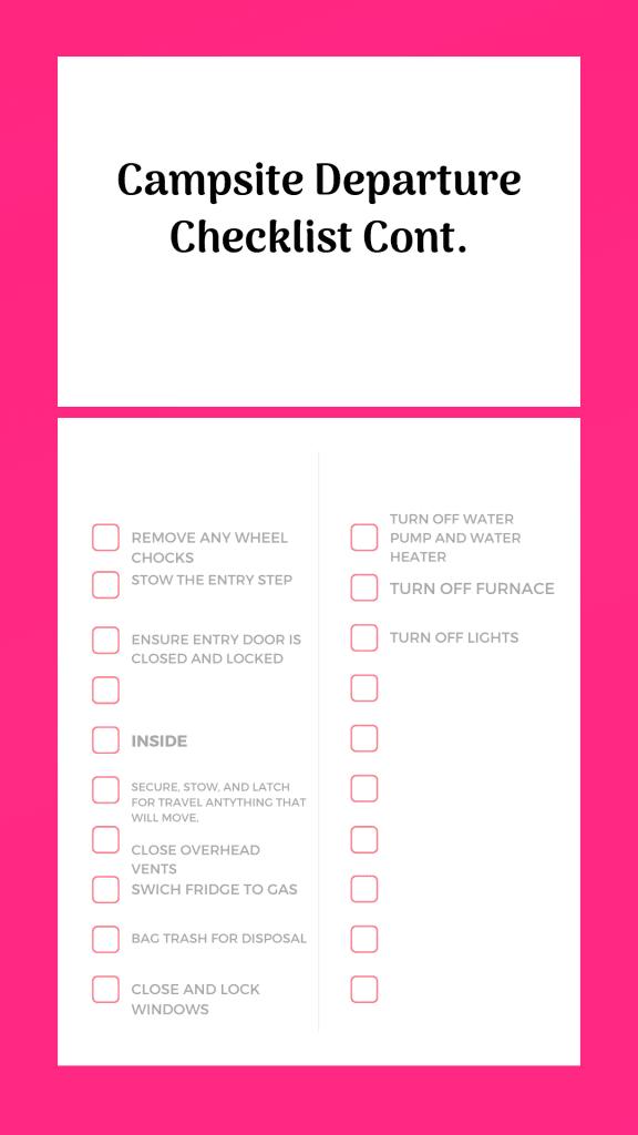 campsite departure checklist for Rv's part two
